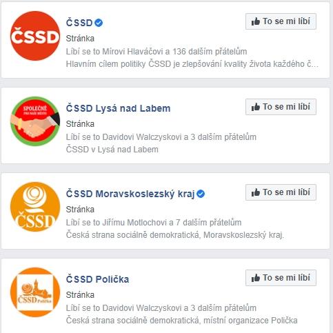 Loga ČSSD na Facebooku 2020