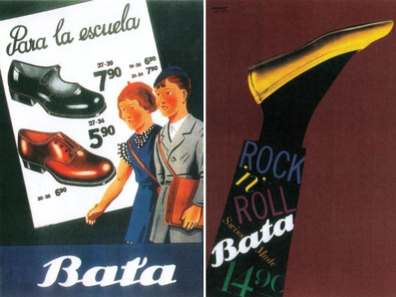 Plakát nebo leták s reklamou na boty s cenami od firmy Baťa